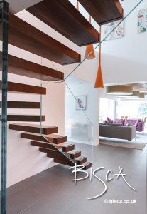 Cantilevered Staircase with Glass Balustrade