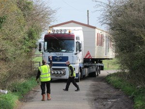 Willerby Villa static caravan delivery turning the corner into Aston Lane