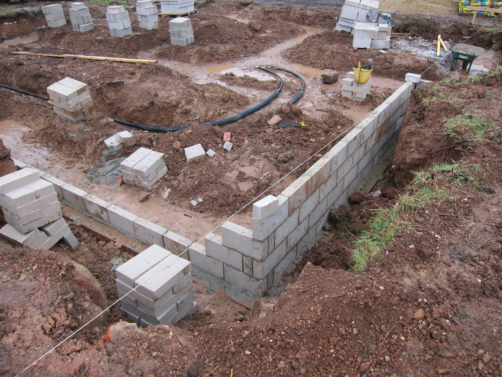 The first section of blockwork