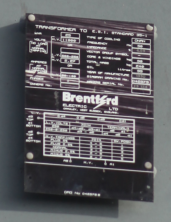 Data Plate on Pole Mounted Transformer