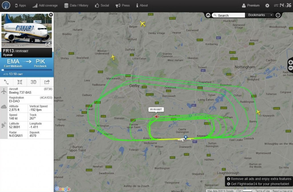 FlightRadar24 flight track for RYR100T