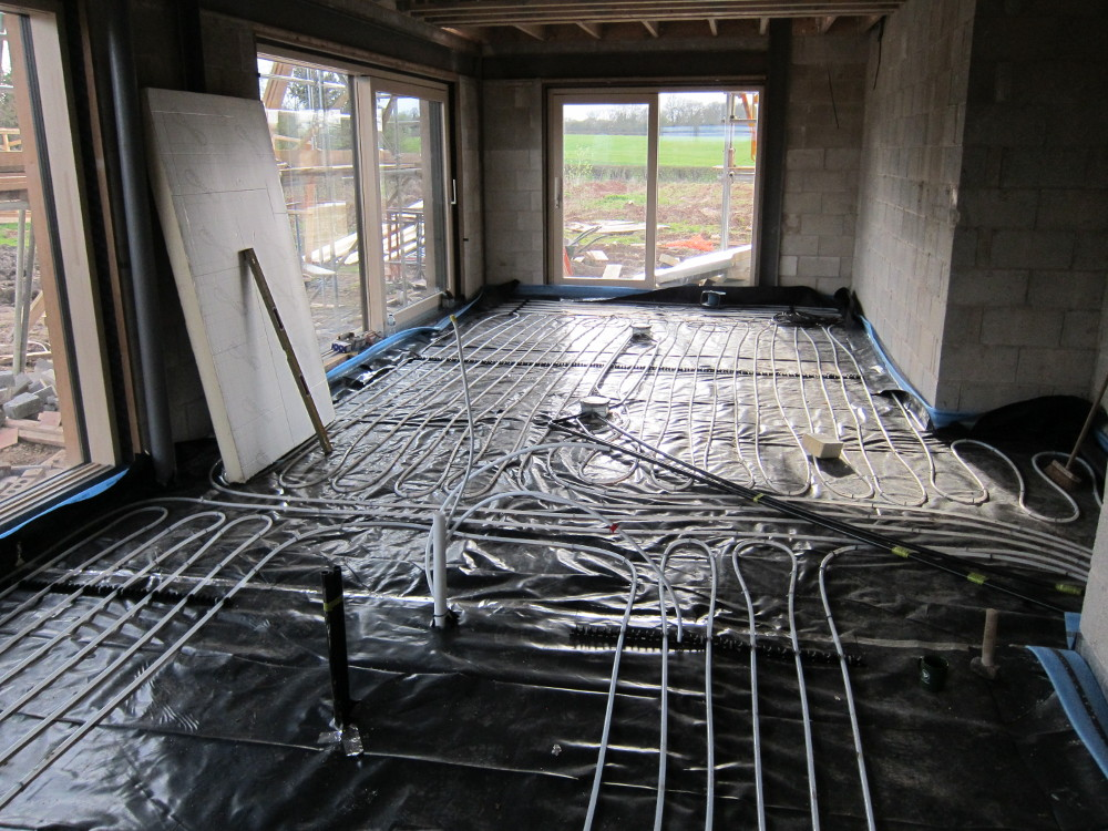 Completed Underfloor Heating Pipework in Open-Plan Area