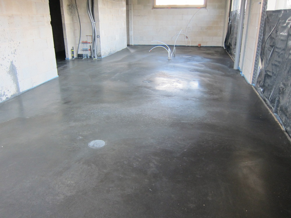 Concrete floor after power-floating