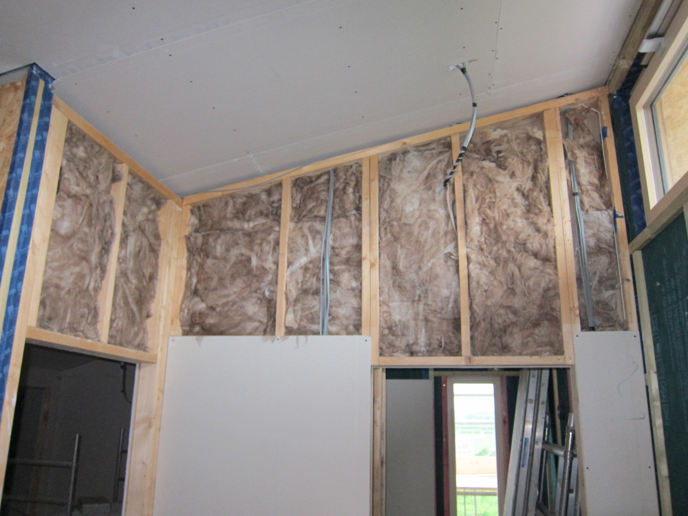 Insulation within the partition walls on the second floor