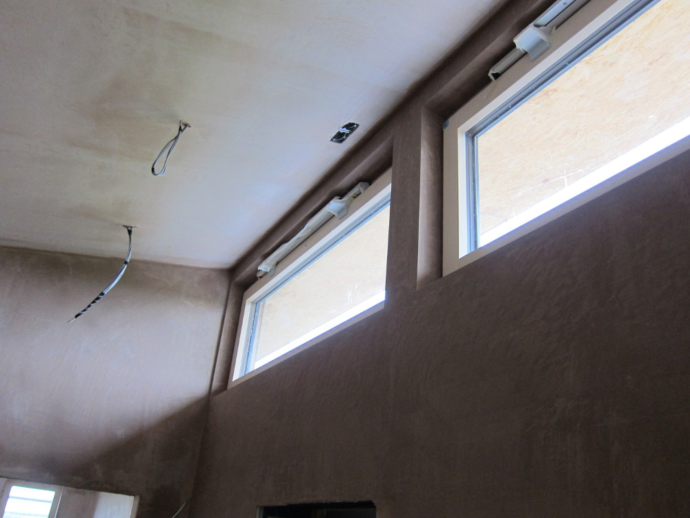 Completed plaster work around the clerestory windows