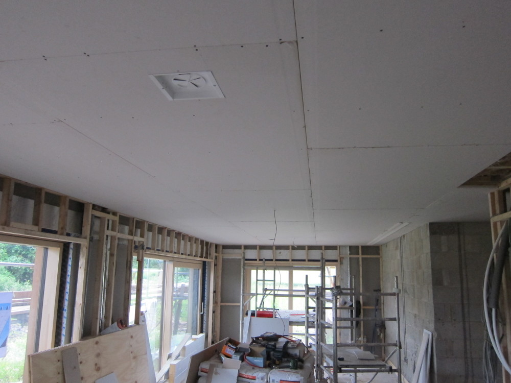 Plasterboard on most of the ceiling in the open plan area