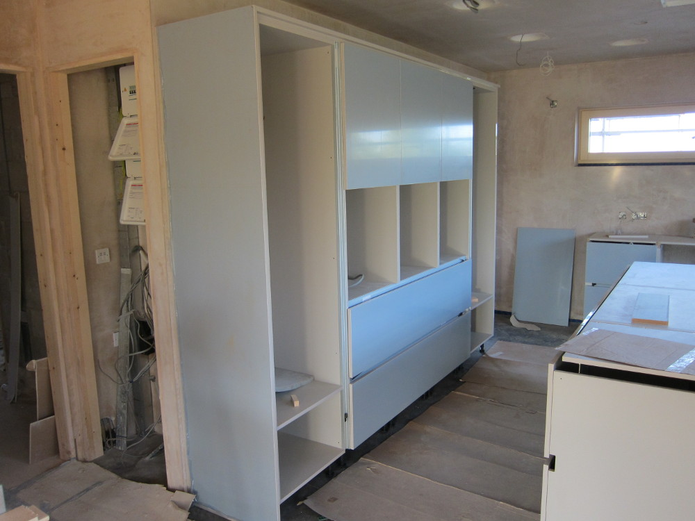 Kitchen units almost ready for appliances