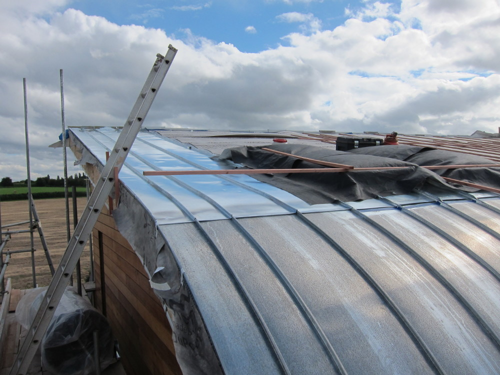 The start of the final section of the north roof, east of the rooflights