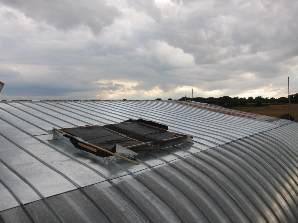 Zinc roofing mostly complete