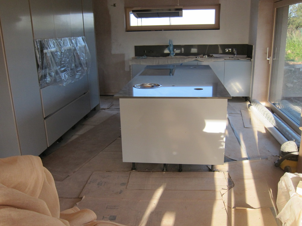 Island worktop in kitchen