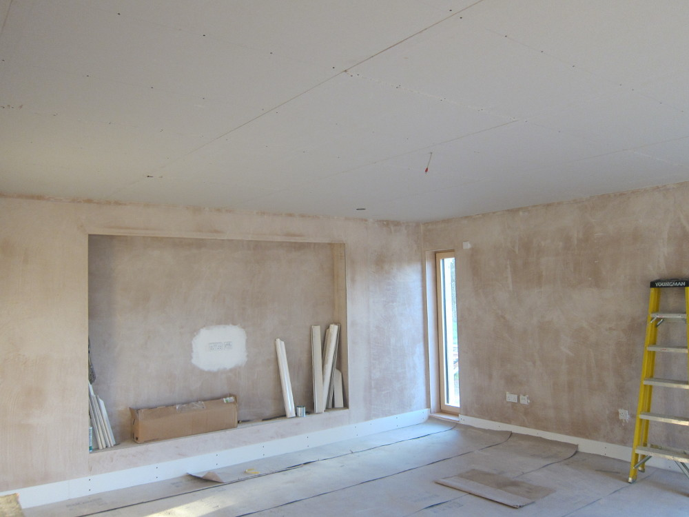 Living Room ceiling re-boarded and ready for plaster skim coat
