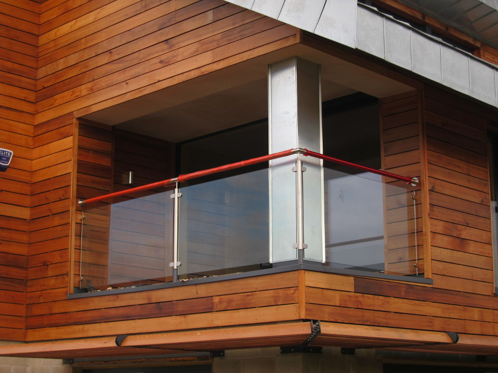 Glass panels installed on balcony