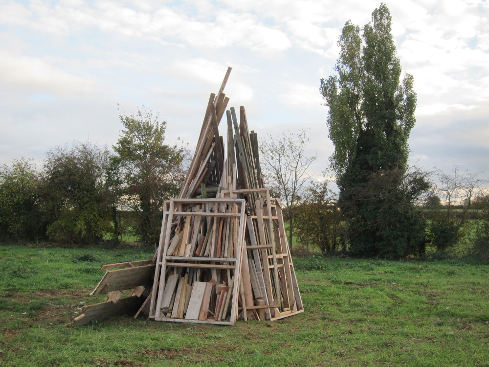 Bonfire from waste wood, old pallets etc.
