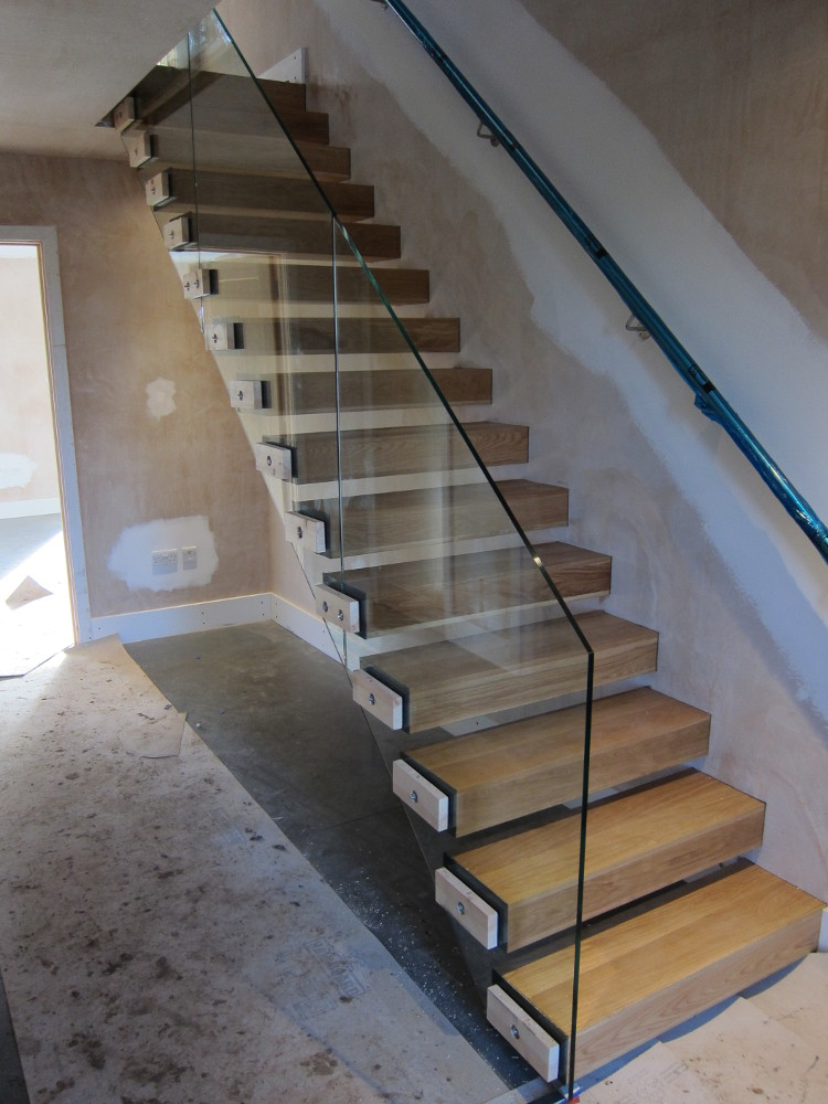 Completed glass balustrade on ground-to-first floor staircase
