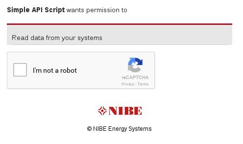 NIBE Uplink API Authorize page